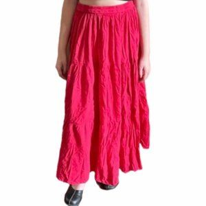 Faded red tiered skirt
